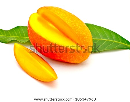 delicious Asian mango on white background