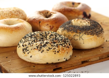 Delicious Bagels on a cutting board