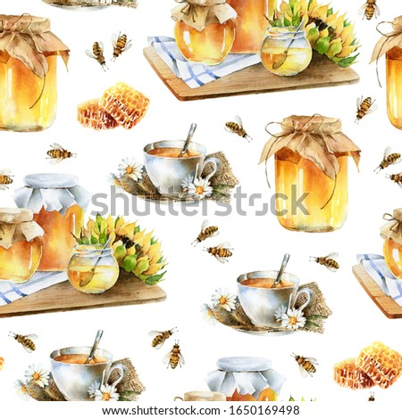 Delicious beautiful seamless pattern with honey. Watercolor illustration