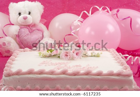 Birthday Cake And Balloons. decorated irthday cake,