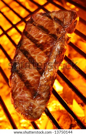 Delicious beef steak on a fire hot barbecue grill.