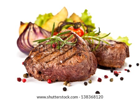 Delicious beef steaks isolated on white background #138368120