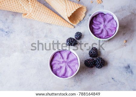 Delicious berry blackberry purple ice cream on gray stone table background. Summer tasty dessert. Copy space, top view