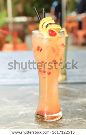 Delicious beverage serving concept with minimalist colors and amber light