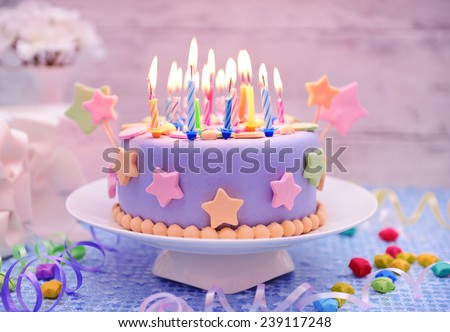 Delicious Birthday Cake On Table Light Background 239117248