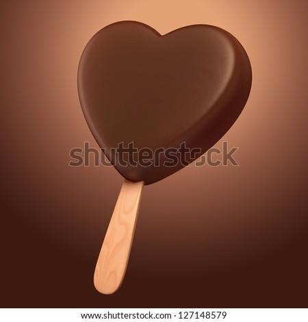 delicious bitter dark chocolate heart shape ice cream