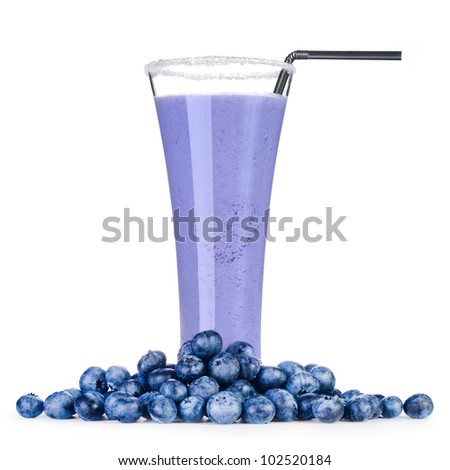 Delicious blueberry smoothie with fresh berrys Isolated on white background