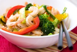 Delicious bowl of shrimp and vegetables salad - Thai Style