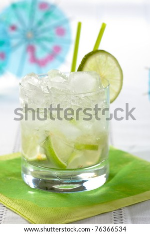 Delicious brazilian drink with lime and cachaca
