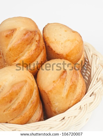 delicious  bread on wood basket.