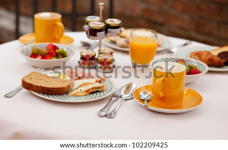 Delicious breakfast served for two