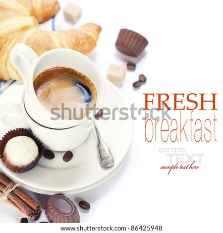 Delicious breakfast with fresh coffee, fresh croissants and chocolate (with sample text)