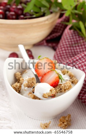 delicious breakfast with fresh strawberries