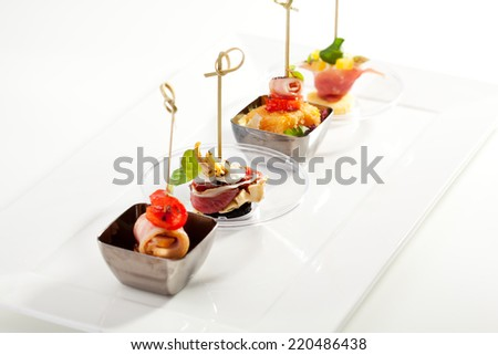 Delicious Buffet Food on White Dish