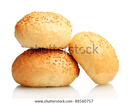 delicious buns with sesame seeds isolated on white