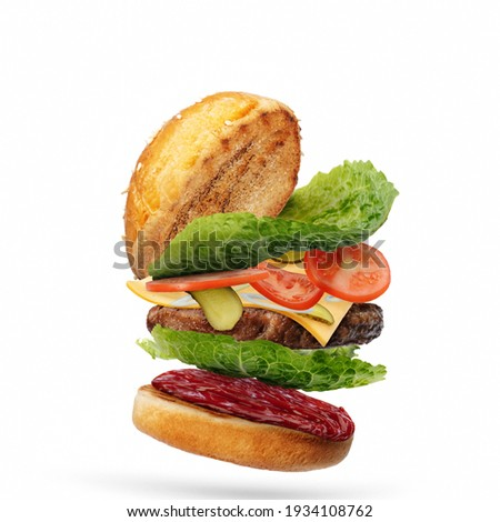 Delicious burger with flying ingredients isolated on white