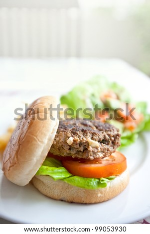 Delicious burger with fresh tomato and lettuce