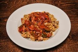 Delicious Cajun cuisine best known as jambalaya