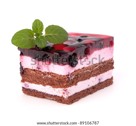 Delicious  cake piece isolated on white background