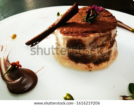 Delicious cake with cacao powder and cinnamon stick dressing on a white plate with focus