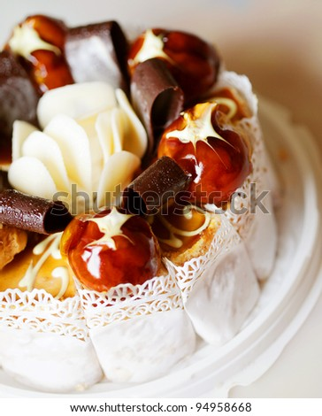 delicious cake with chokolate and caramel - stock photo