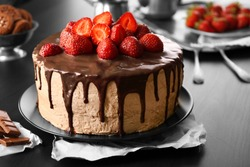 Delicious cake with strawberry, closeup