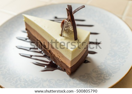 Shutterstock Delicious cake with three different kind of chocolate