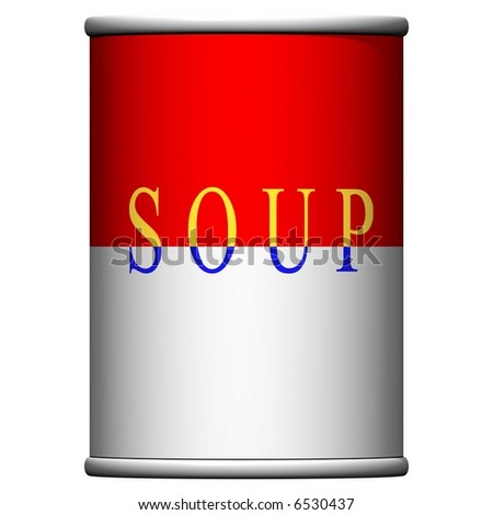 Delicious can of soup isolated on white