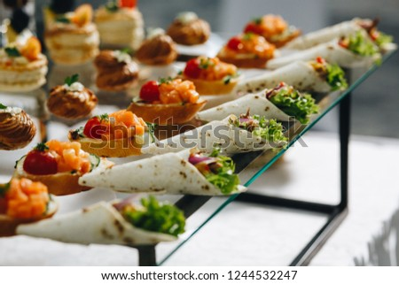 Delicious canapes as event dish in luxary restaurant. Photo stock ©