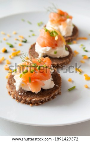 Delicious canapes with smoked salmon and cheese cream  Photo stock ©