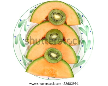 delicious cantaloupe slices with kiwi