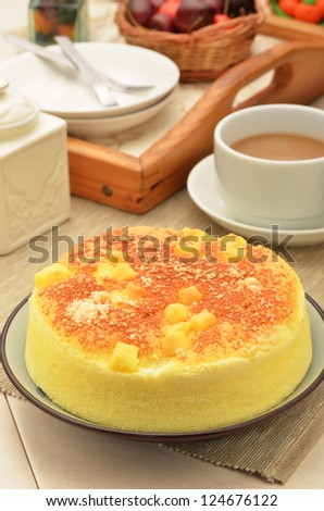 Delicious cheese cake on the table