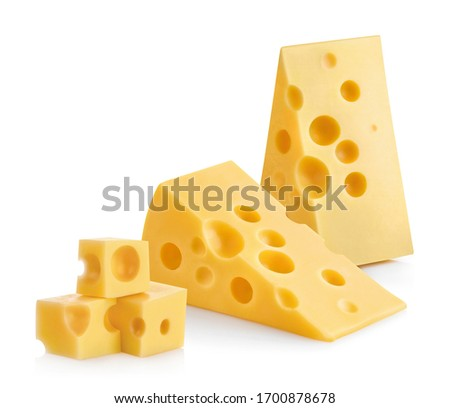 Delicious cheese pieces, isolated on white background