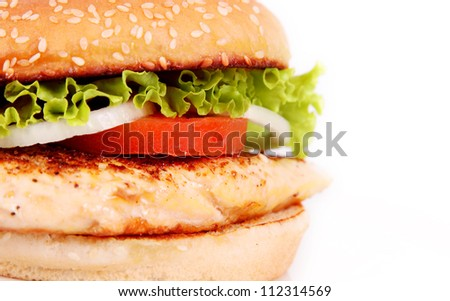 delicious chicken burger with lettuce and tomato