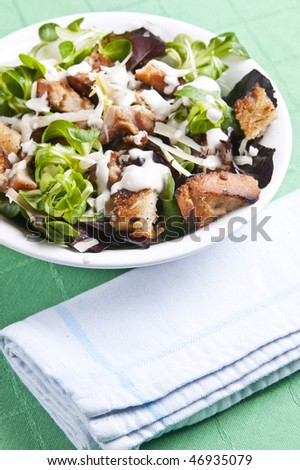 Delicious chicken caesar salad with tasty dressing - stock photo