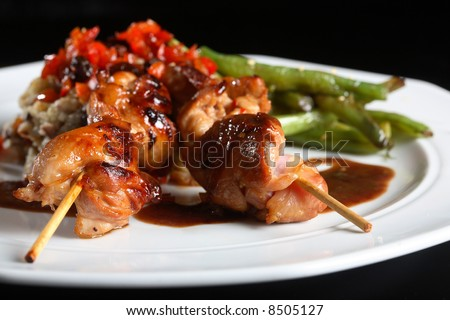 Delicious chicken satay on skewers