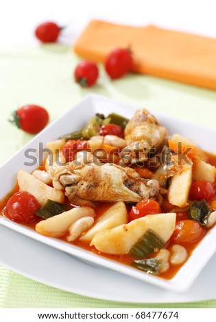 Delicious chicken stew with vegetables