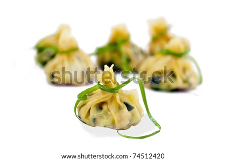 Delicious Chinese dumplings isolated on white
