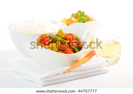Delicious chinese food on a white backgound.