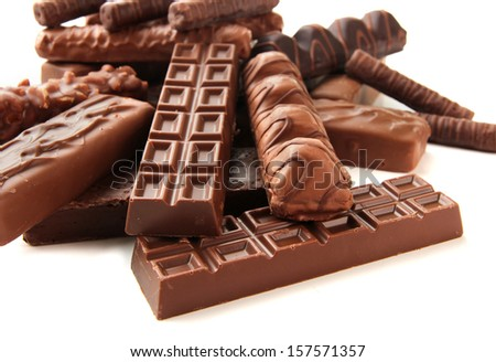 Delicious chocolate bars close up