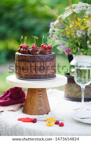 Delicious chocolate cake decorated with cherries with a glass of white wine, berries and wild flowers. Picnic in the country
