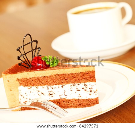 Delicious Chocolate Cake with cream filling - stock photo