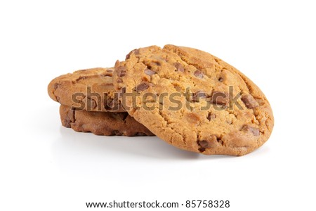 delicious chocolate chip cookie isolated on a white background
