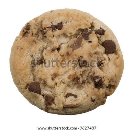 delicious chocolate chip cookie isolated on a white background - stock photo