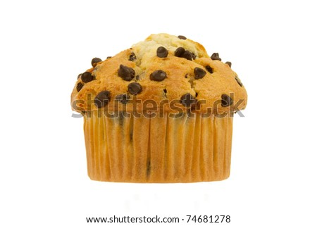 Delicious Chocolate Chip Muffin Fresh from the Bakery Isolated on a White Background