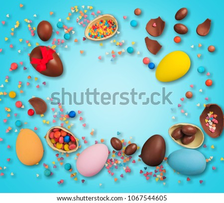 Delicious chocolate easter eggs #1067544605