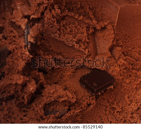 delicious chocolate ice cream texture, closeup photo