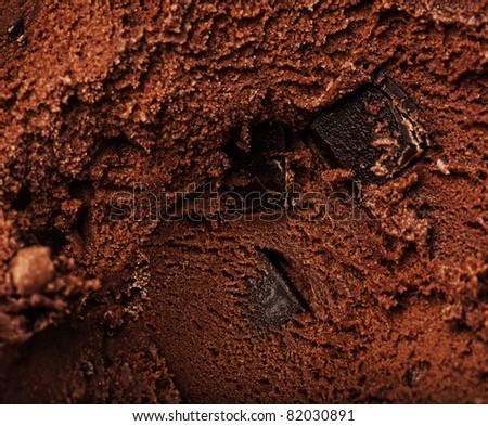 delicious chocolate ice cream texture, extreme closeup