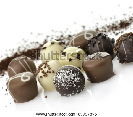 Delicious Chocolate Pralines ,Close Up,  On White Background