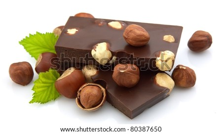 Delicious chocolate with nuts closeup